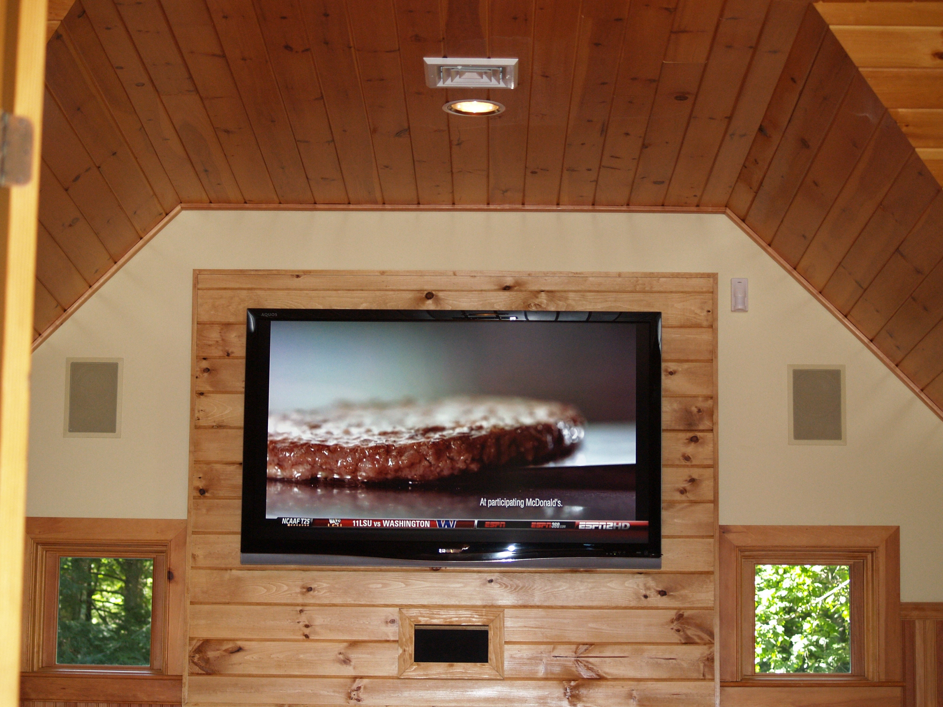 Gilford wall mount a flat screen in new hamsphire nh home theatre install home theatre - Home theater screen wall design ...
